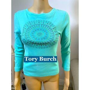 Tory Burch Aqua Crystal Studded Cotton Top Sz XS